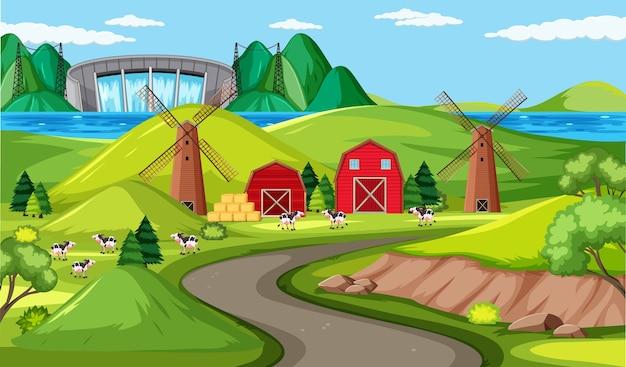 Boerderij en lange wegscène