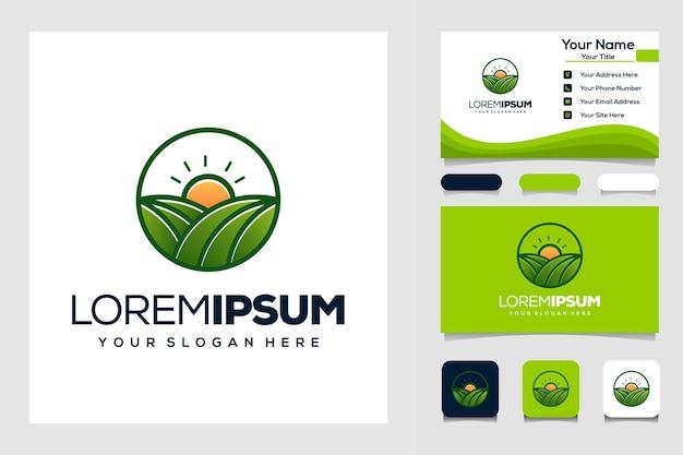 Boerderij en zon modern logo visitekaartje