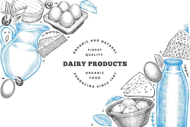 Boerderij eten. handgetekende zuivelproducten. verschillende melkproducten en eieren in gegraveerde stijl
