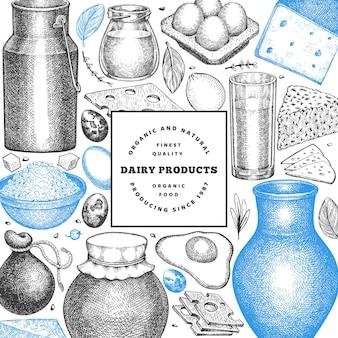 Boerderij eten. verschillende melkproducten en eieren in gegraveerde stijl