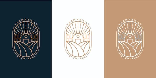 Boerderij familie embleem monoline logo