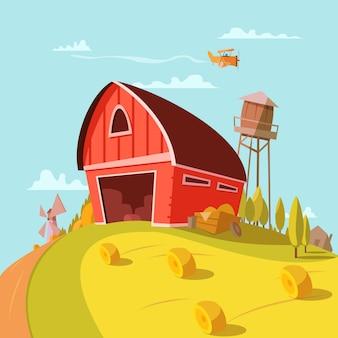 Boerderij gebouw cartoon achtergrond met velden graan en hooi vectorillustratie
