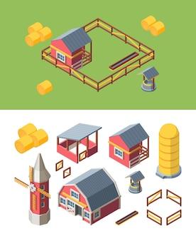 Boerderij gebouwen isometrische set illustratie