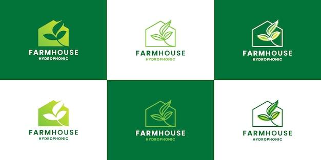 Boerderij, groene huis logo-ontwerpbundelcollectie