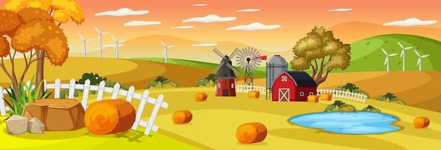 Boerderij horizontaal landschap bij zonsondergang tijdscène