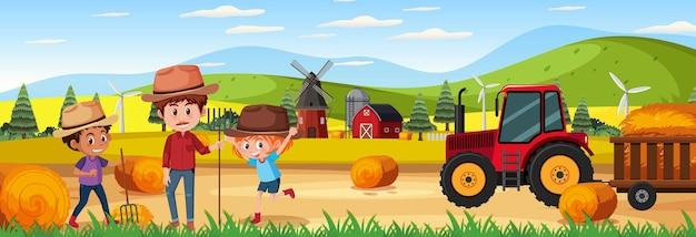 Boerderij horizontale landschapsscène met boerenkinderen
