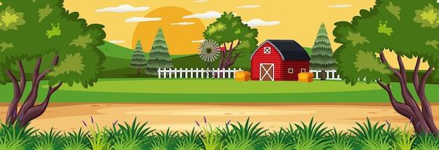 Boerderij horizontale landschapsscène met rode schuur
