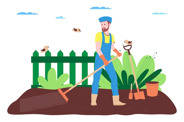 Boerderij, landbouw en landbouw. een boerenarbeider werkt op een boerderij, boomgaard of moestuin: de grond graven, bedden maken, zaailingen van groenten en fruit planten en de planten water geven.