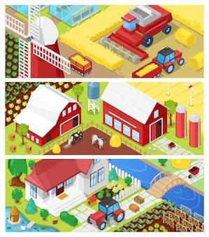 Boerderij landbouw landbouw in velden en boerderij illustratie agrarische set van landelijke huis op landbouwgrond of erf weide landschap