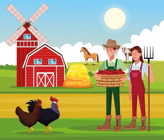 Boerderij landelijke tekenfilms