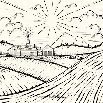 Boerderij landschap in hand getrokken stijl