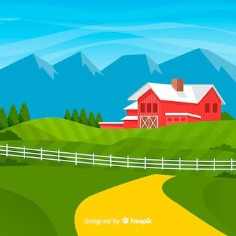 Boerderij landschap in vlakke stijl
