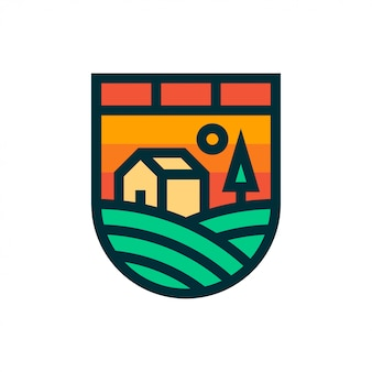 Boerderij landschap logo en pictogram.