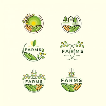 Boerderij logo set pictogrammalplaatje