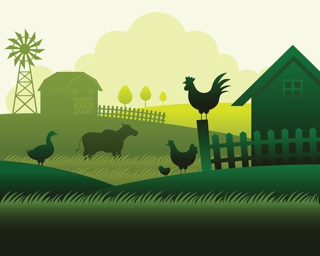 Boerderij met dieren silhouet