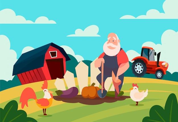 Boerderij met een tractor, een schuur en een oude boer op de bedden.