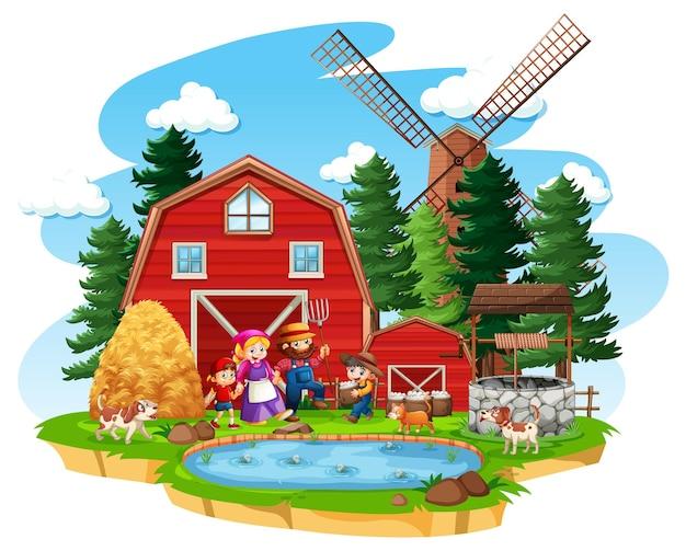 Boerderij met rode schuur en windmolen op witte achtergrond