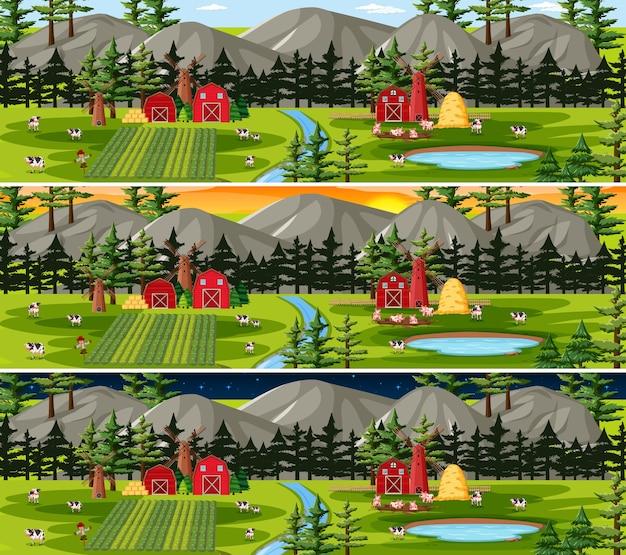 Boerderij met schuur en windmolen in natuurlandschap op verschillende tijdstippen van de dag