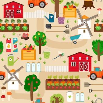 Boerderij met tractor en perken, appelbomen en molen, perenbomen en groentebedden.
