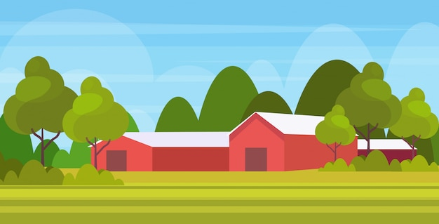Boerderij moderne schuur gebouw exterieur veld landbouwgrond platteland landschap horizontale achtergrond