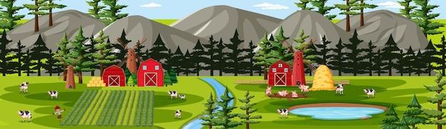 Boerderij natuur met schuren landschapsscène
