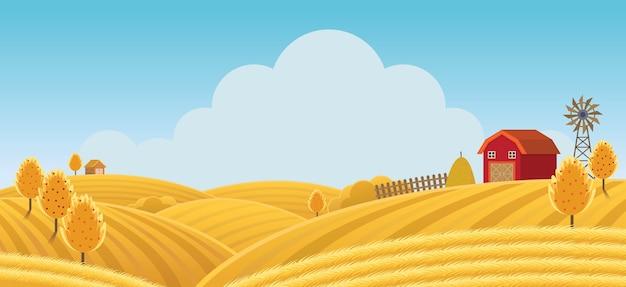 Boerderij op heuvel met gele of gouden veldachtergrond