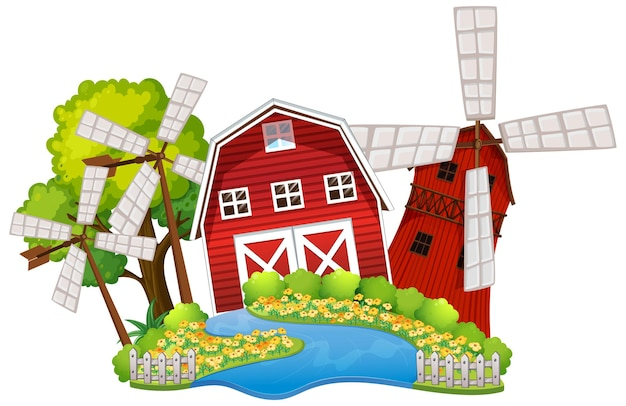 Boerderij op witte achtergrond
