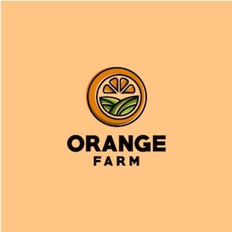 Boerderij oranje logo sjabloon