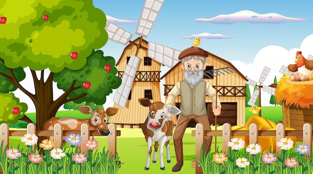 Boerderij overdag met oude boerenman en boerderijdieren