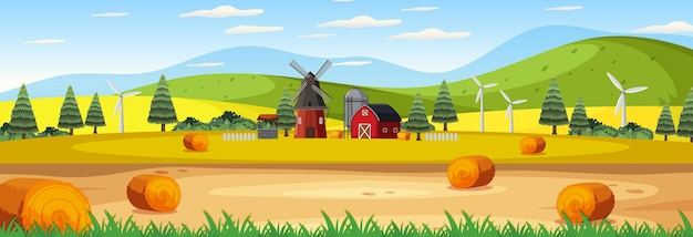 Boerderij panorama landschapsscène met schuur en windmolen