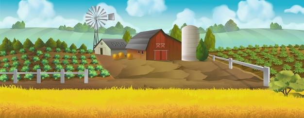 Boerderij. panoramalandschap, achtergrond