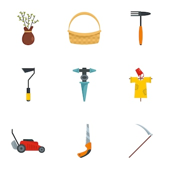 Boerderij pictogramserie. platte set van 9 boerderij vector iconen