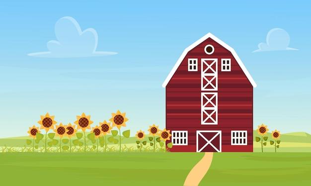 Boerderij platteland landschap met boerderij schuur zonnebloem veld rustieke agrarische landschap