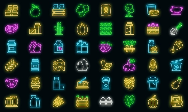 Boerderij producten pictogrammen instellen. overzichtsreeks landbouwproducten vectorpictogrammen neonkleur op zwart