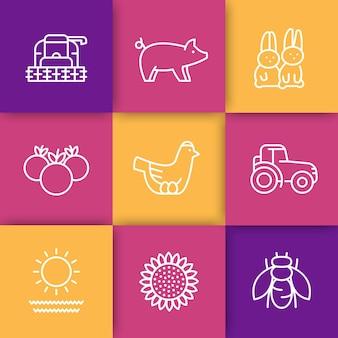 Boerderij, ranch lijn iconen set, kip en eieren, varken, gewas, groenten, zonnebloem, oogst, konijnen, vectorillustratie