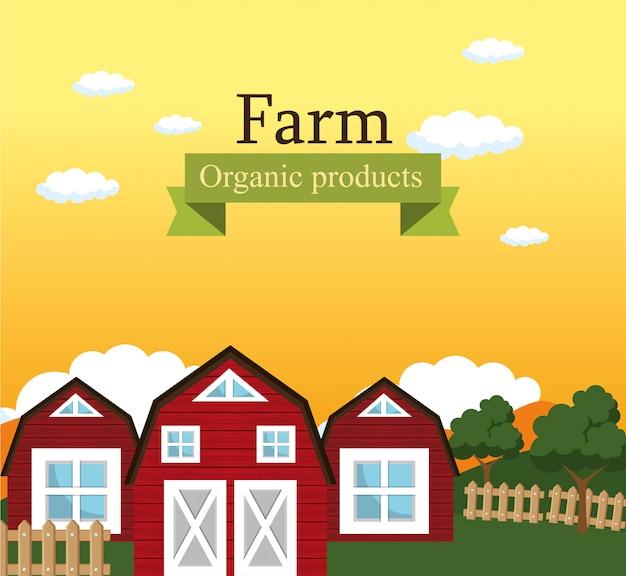 Boerderij scene biologische producten label