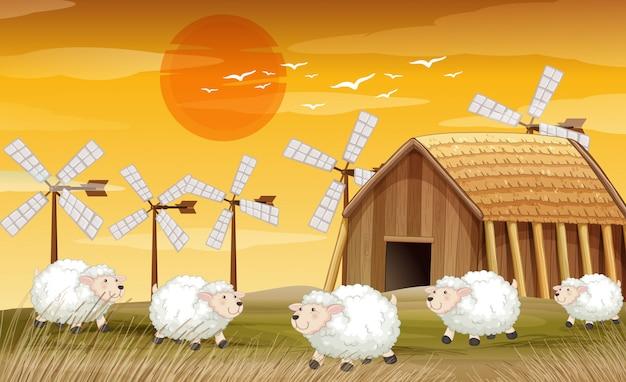 Boerderij scène in de natuur met schuur en windmolen en schapen