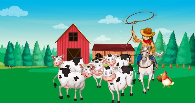 Boerderij scène met cartoon dierenboerderij stijl