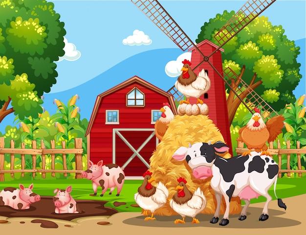 Boerderij scène met dieren Premium Vector