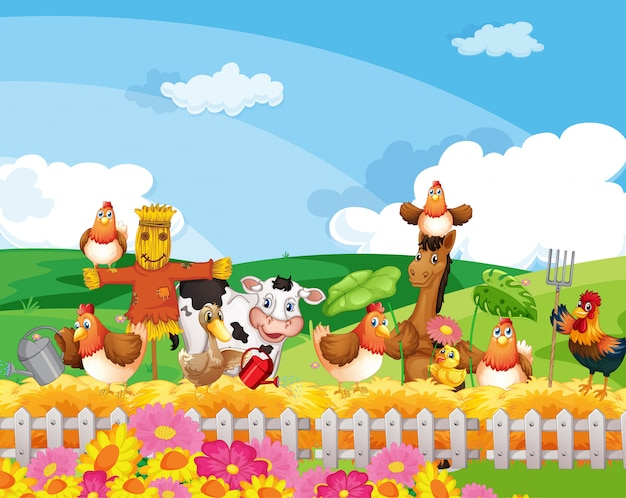 Boerderij scène met dierenboerderij cartoon stijl