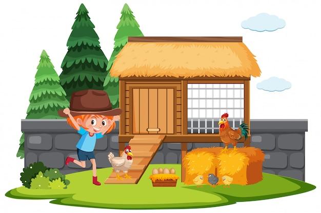 Boerderij scène met gelukkig meisje en kippen op de boerderij