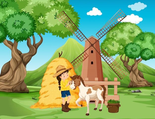 Boerderij scène met meisje en paard op de boerderij