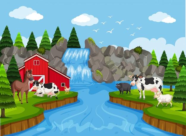 Boerderij scène met waterval