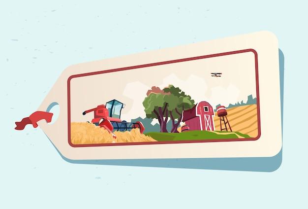 Boerderij tarwe veld landbouwgrond platteland label
