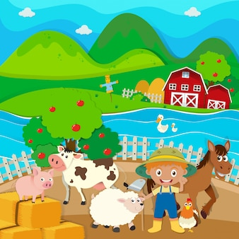 Boerderij thema met boer en boerderijdieren