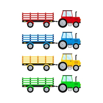 Boerderij trekker met open trailer set isolatet op witte achtergrond.