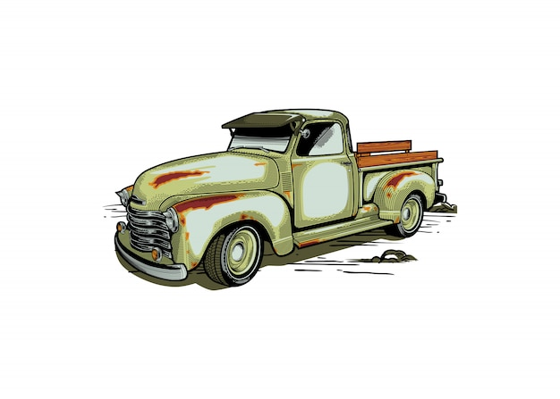 Boerderij vrachtwagen retro stijl illustratie