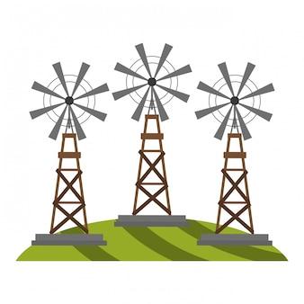 Boerderij windmolens op gras
