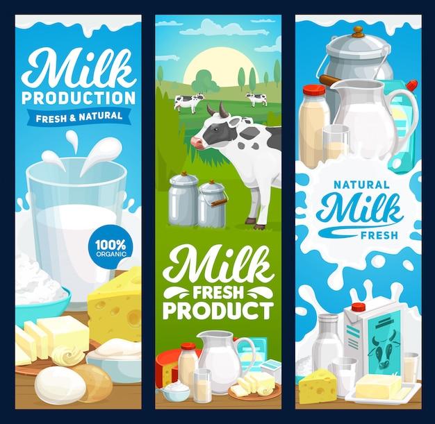 Boerderij zuivelproducten en zuivelproducten banners, boerderijvoeding
