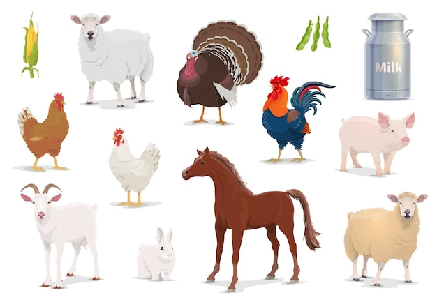 Boerderijdieren cartoon schapen, kalkoen en haan, varken, geit en paard met kip en konijn.